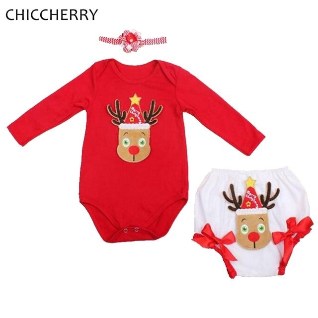 b9e2c4c4910 Renos de navidad para niños pequeños trajes de regalo infantil del mono del  bebé fijó headband