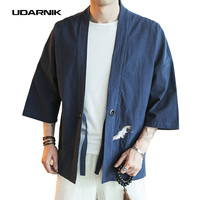 Embroidery Men Japanese Yukata Coat Jacket Kimono Outwear Cotton Vintage Retro Loose Top Fashion Black Red