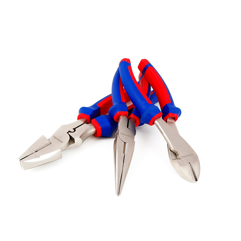 WORKPRO 7 quot 8 quot 9 quot Electrician Pliers Set Cable Wire Cutter Hand Tool Set in Pliers from Tools