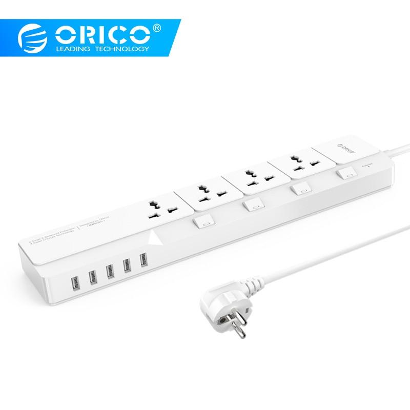 ORICO OSJ Universel Parafoudre Avec 5 USB Chargeur 4 Universal AC Plug Multi-Outlet Voyage Puissance Bandes- blanc