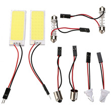 цена на 8pcs/set DC 12V 6W 36SMD COB LED Car Interior Dome Panel Reading Lamp T10 Festoon BA9S Light Bulb Super White LED Light Kit