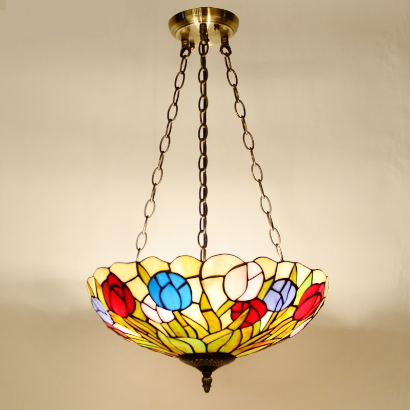 Tiffany 38CM pastoral village pendant lamps bedroom study children room balcony ceiling living room pendant lights style lamp tiffany glass pendant lamps fashion style 3 lights living room lamps corridor light bedroom lamp dia 56 cm h 65 cm