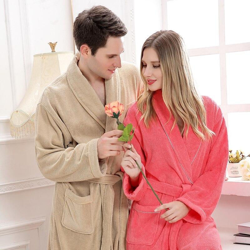 Cotton bathrobe Femme Sexy Peignoir Women Dressing Gown Men Long soft Bathrobe Lovers Kimono Sleepwear thick Bridesmaid Robes