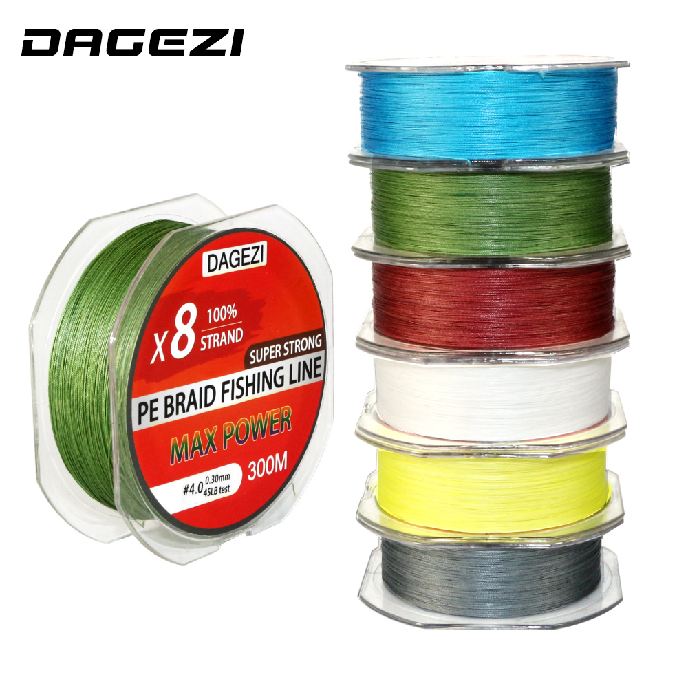 DAGEZI 8 strand 300m/330YDS Super Strong fishing lines 30-80LB 100% PE Braided Fishing Line smoother lead line for saltwater dagezi 500m 10 90lb 4 strand braidedfishing lines super strong multifilament 100% pe braided fishing line