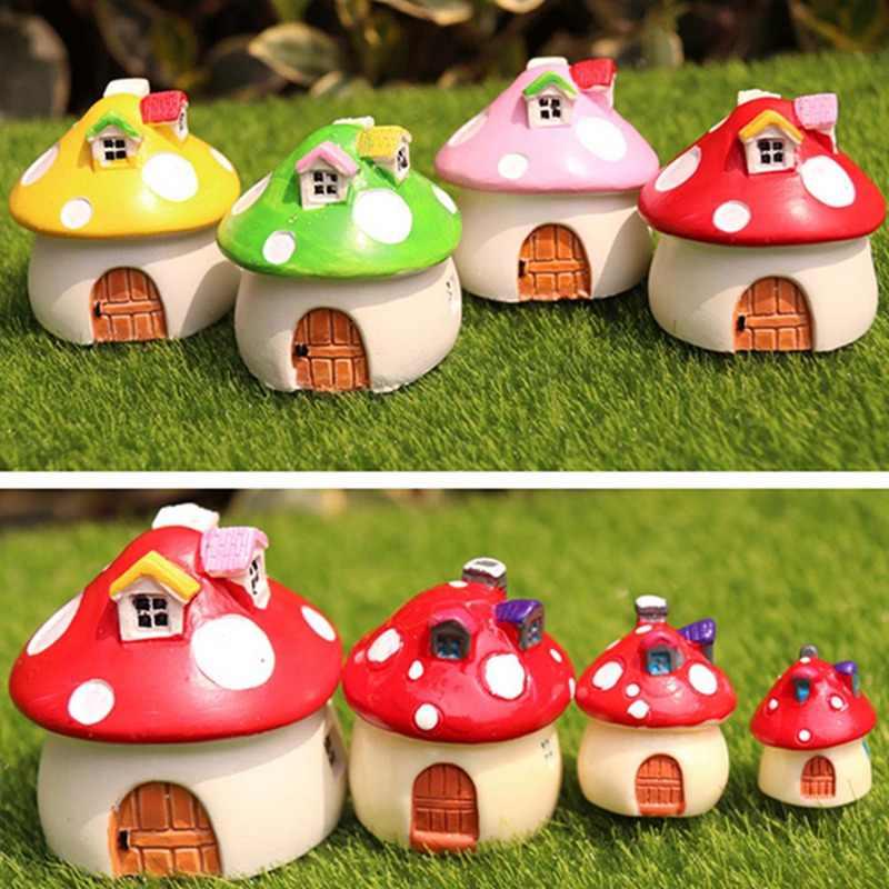 Mushroom House Miniature Figurine Fairy Garden Decoration Figure Home Cake Ornaments Building Statue Resin Craft Toy