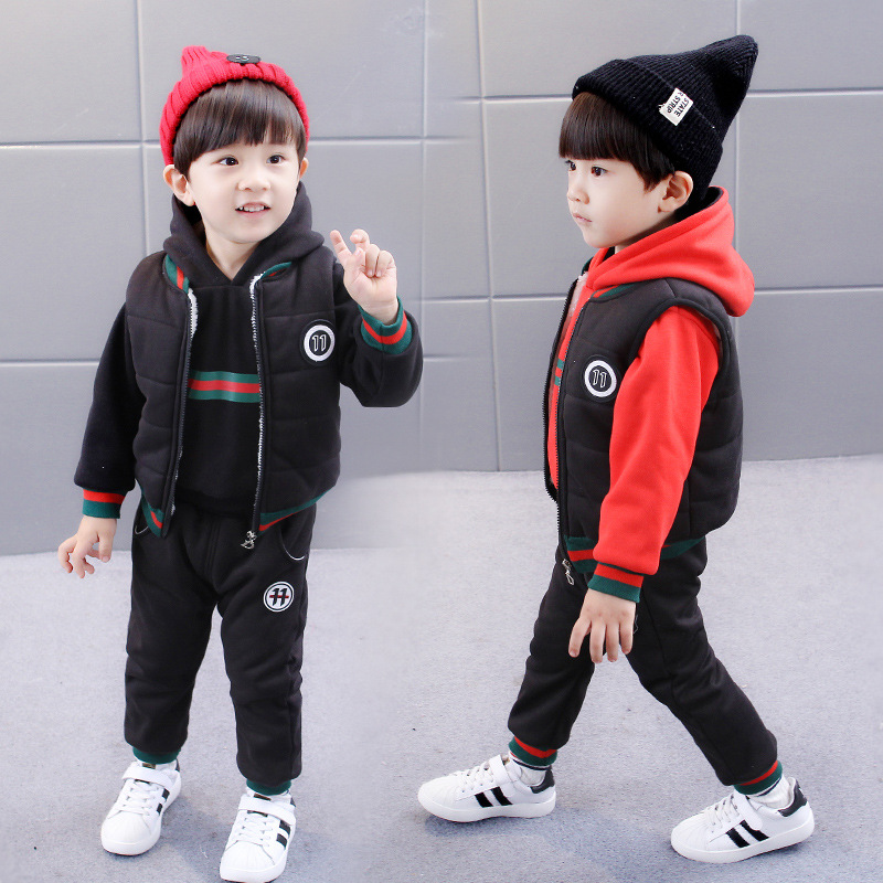 FreeShipping Autumn Winter 2018 Sport Brand Baby Boys Girls Velvet Thicker Suit Hooded Coat+t-shirt+pants 3PCS Children Clothing baby fashion clothing kids girls cowboy suit children girls sports denimclothes letter denim jacket t shirt pants 3pcs set 4 13