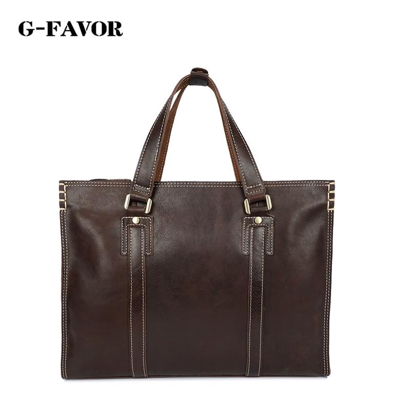G-FAVOR New fashion men Genuine Leather briefcase messenger shoulder bag brands business handbag men travel bag retro briefcase