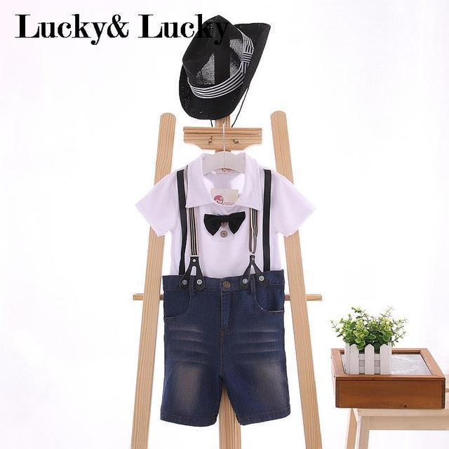 3 unids/set niños ropa casual de manga corta t-shirt + arco + Denim shorts + hat ropa de los muchachos para la boda y la fiesta