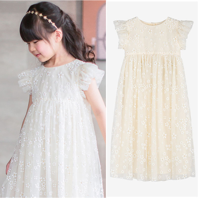 17e20ac4b4588 US $40.0 |Summer White Floral Pattern Baby Girls Dress Flower Full Print  Party Boutique Beige Dress for Girls Cherry Clothes Petticoat -in Dresses  ...