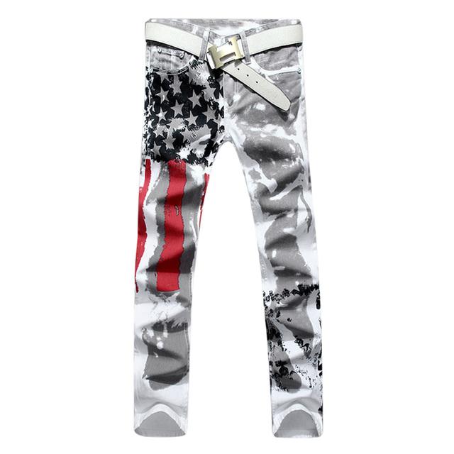 Nueva Marca de Lujo Tramo Vaqueros Para Hombre de La Bandera Americana de Impresión Pantalones Vaqueros de Los Hombres Ocasionales Adelgazan Fittness Pantalones de Mezclilla Impresos Pantalones Vaqueros