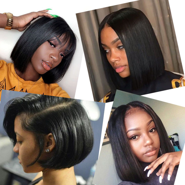 Alibd Short Lace Front Human Hair Wig Brazilian Straight Glueless Bob Wig Natural Color Remy Hair Lace Bob Wig With Baby Hair 1