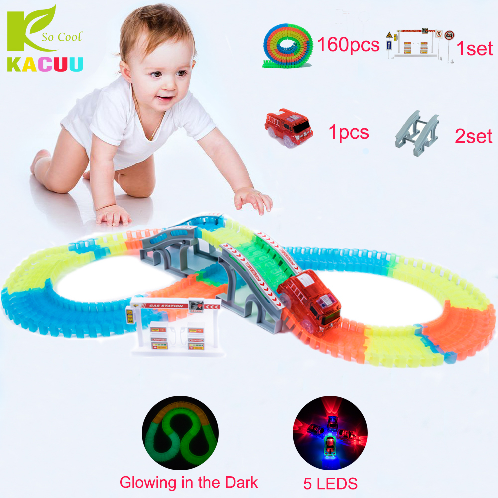 Glow race track Flexible Assembly Track Arch Bridge Accessories Colorful bright Flash in the Dark Electric Track with Led Car