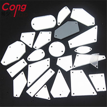 Cong Shao 40Pcs Top Quality Clear mirror sew on rhinestones with holes flat back Acrylic Sew-on Stone DIY for costume trim YB999