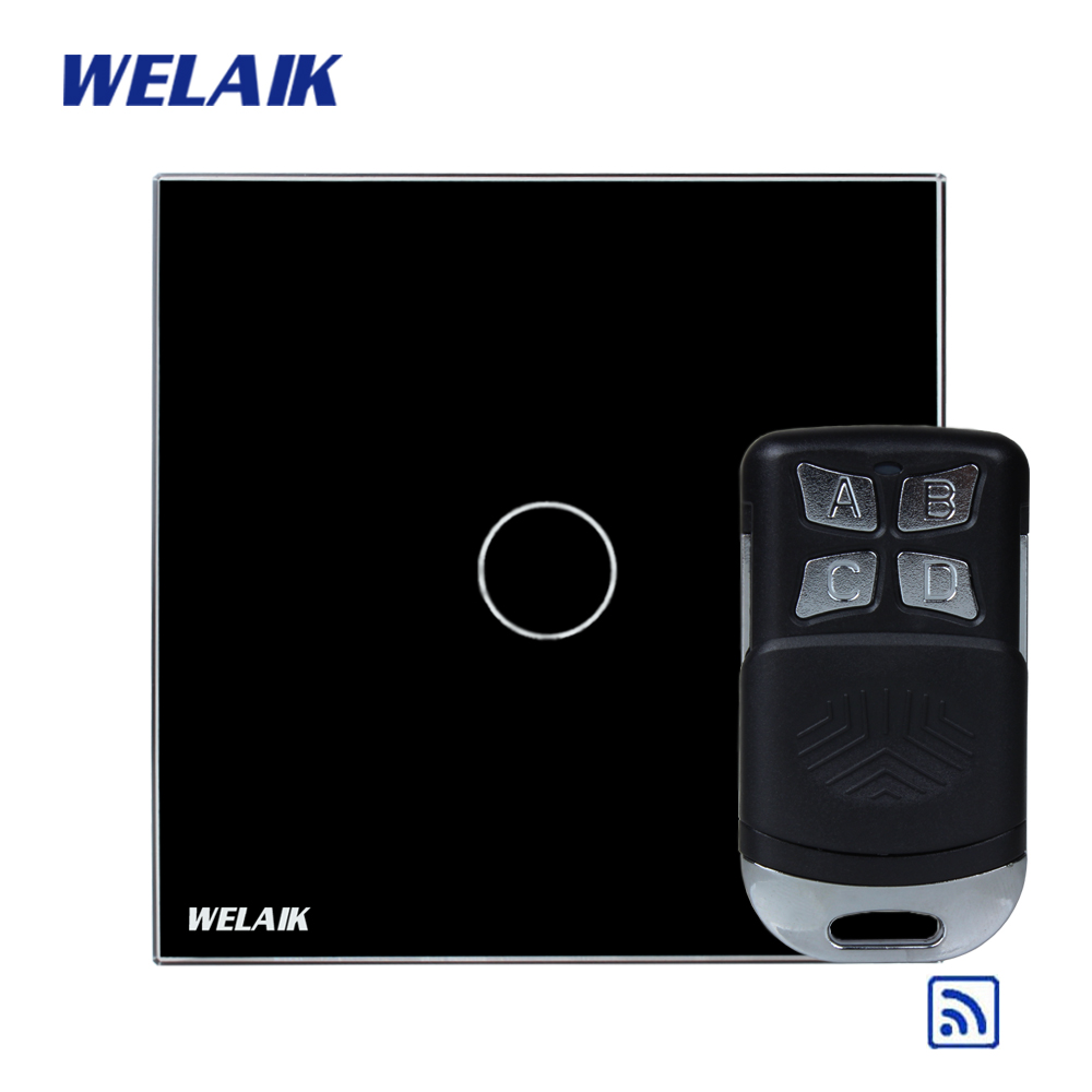 WELAIK Glass Panel Switch black Wall Switch EU remote control Touch Switch  Light Switch 1gang1way AC110~250V A1913CBR01 smart home us black 1 gang touch switch screen wireless remote control wall light touch switch control with crystal glass panel