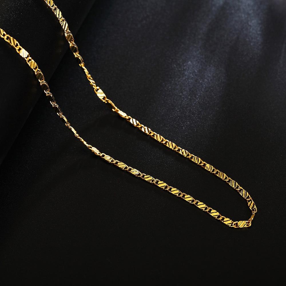 Цепочка для мужчин и женщин, элегантная цепь золотого цвета, красивое ожерелье для свадебвечерние НКИ, 16-30 дюймов, LN038
