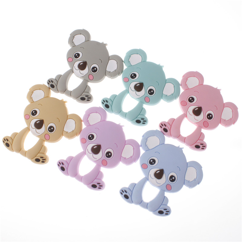 20pc Silicone Teether Pendant Koala Bear Teething Necklace Bpa Free Silicone Baby Pacifier Pendant Diy Nursing Jewelry silicone bear