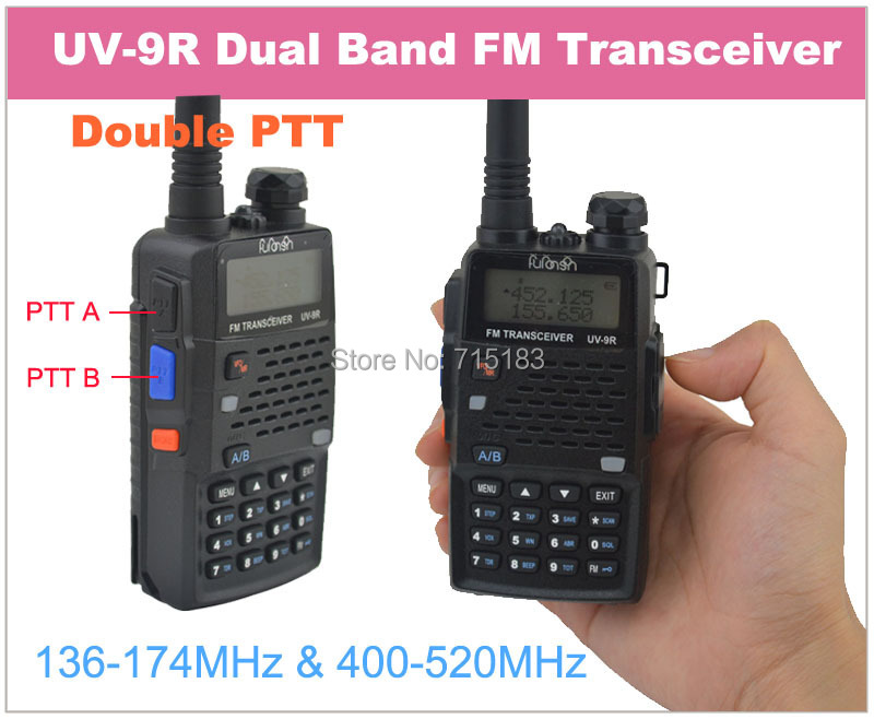 Furonson UV-9R Double PTT Dual Band 400-520MHz & 136-174MHz FM Portable Two-way Radio with Flash lightFuronson UV-9R Double PTT Dual Band 400-520MHz & 136-174MHz FM Portable Two-way Radio with Flash light