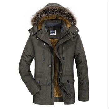 Male Autumn Winter Cotton Hooded Winter Jacket Men Warm 6XL Long Parka Hooded Jackets Man Coats Casual Fur Down Parkas Jackets