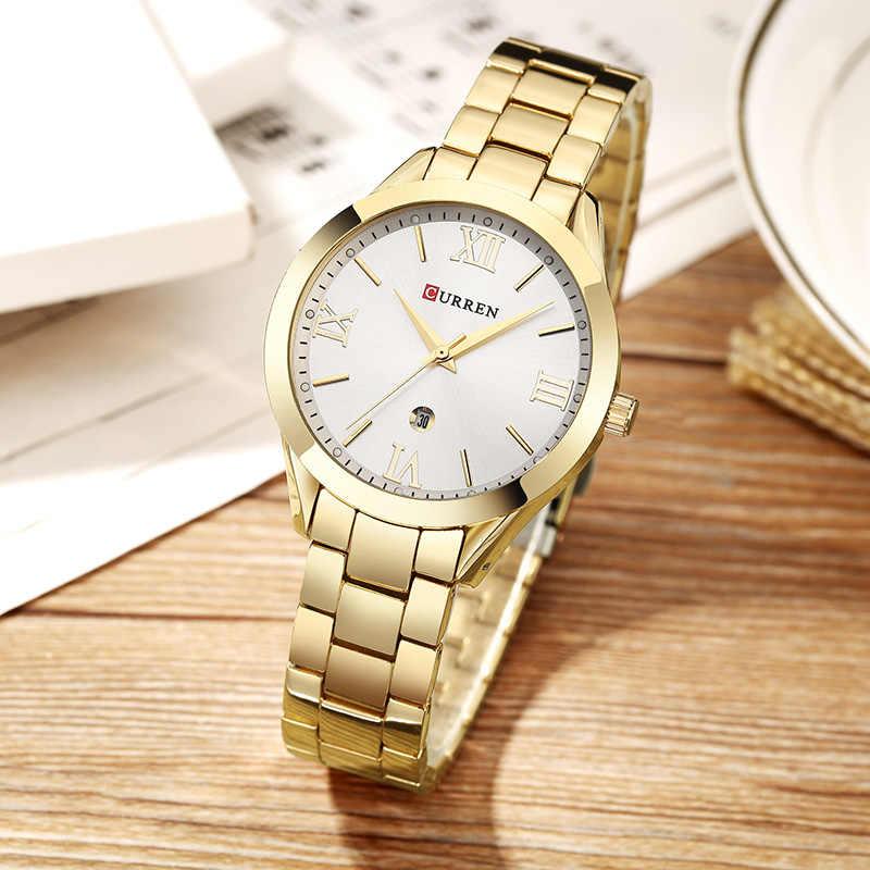 CURREN עלה זהב שעון נשים קוורץ שעונים גבירותיי למעלה מותג יוקרה נקבה שעון יד ילדה שעון Relogio Feminino Saat 9007