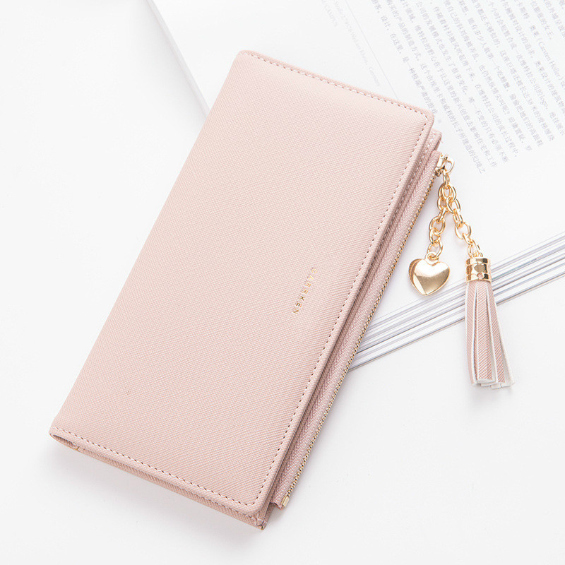 2019 Tassel Wallet Women Long Cute Wallet Leather Tassel Women Wallets Zipper Portefeuille Female Purse Clutch Cartera Mujer(China)