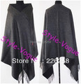 Free Shipping Dark Gray Winter Chinese Women's 100% Wool Shawl Scarf Thick Warm Wrap WS-232