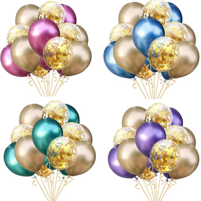 15pcs Metallic Ballons Balls Happy Birthday Gold Confetti Balloon Party Wedding Decoration Kids Balloons Air Balon Helium Baloon