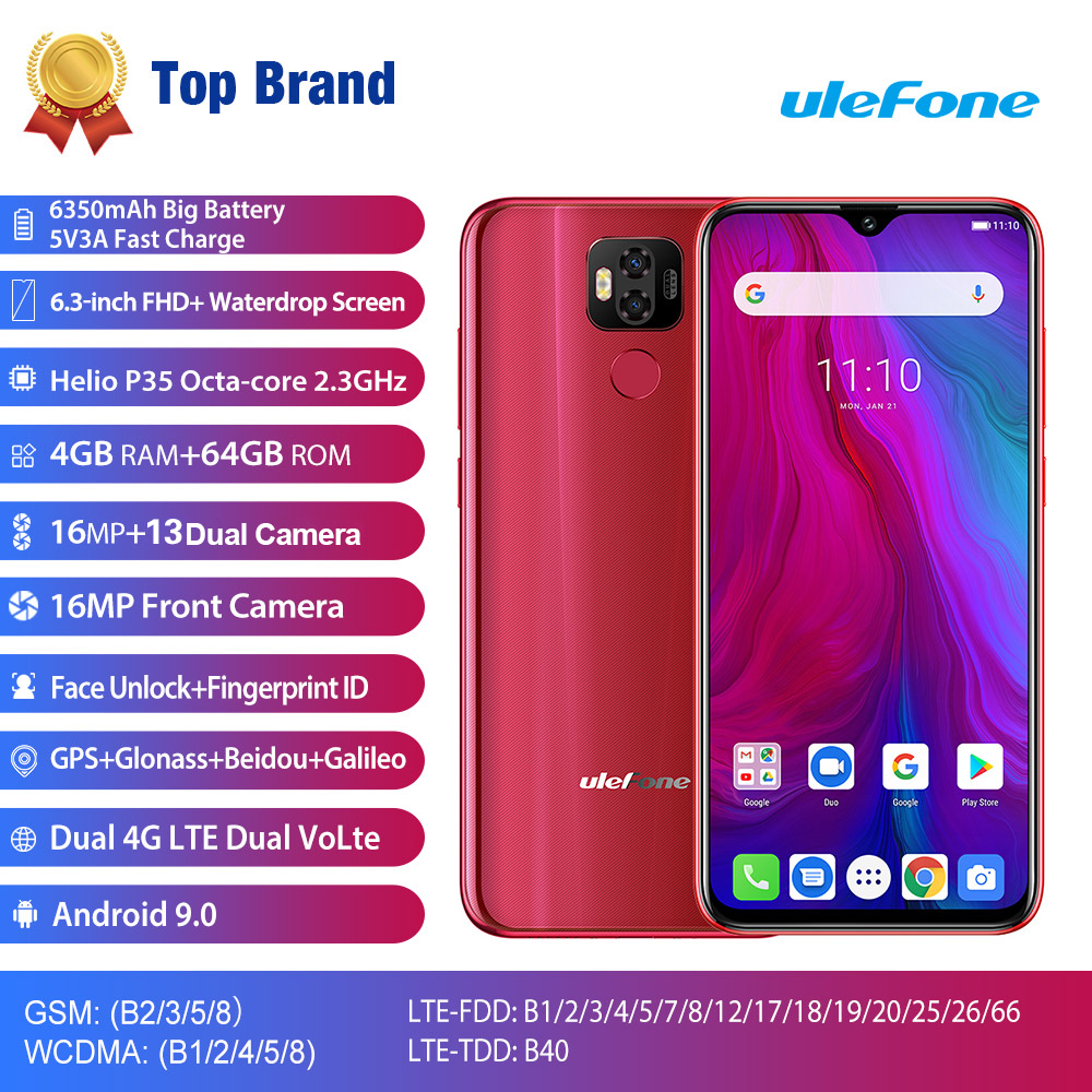 Ulefone Power 6 5800mAh Android 9.0 Helio P35 Octa Core Mobile Phone 4GB RAM 64GB ROM 6.3'' Face Unlock OTG NFC 4G Smartphone