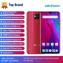 Ulefone電源6 5800 3000mahのアンドロイド9.0エリオP35オクタコアの携帯電話4ギガバイトのram 64ギガバイトrom 6.3 フェイスアンロックotg nfc 4 3gスマートフォン