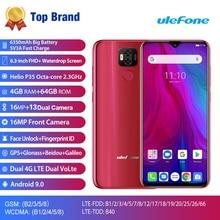 هاتف Ulefone Power 6 5800mAh يعمل بنظام الأندرويد 9.0 Helio P35 ثماني النواة ذاكرة وصول عشوائي 4 جيجا بايت وذاكرة قراءة فقط 64 جيجا بايت وشاشة 6.3 بوصة خاصية فتح الوجه OTG NFC 4G هاتف ذكي