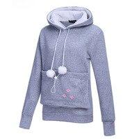 Cute Funny Autumn Bunny T Shirt Women Tops Footpring Paw Print Pocket T Shirt Hooded Female