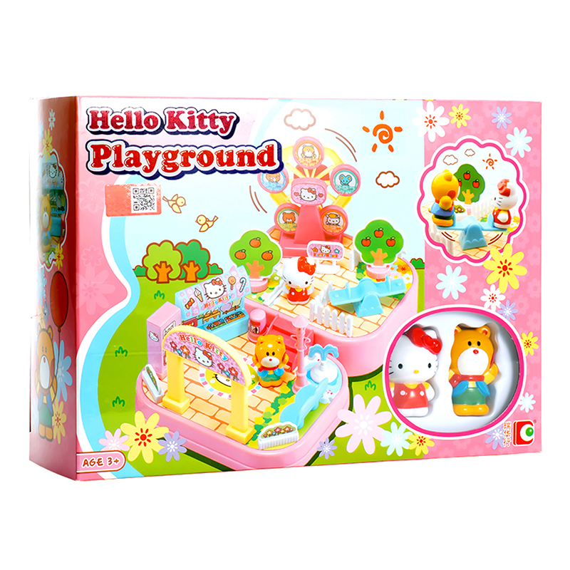 Hello Kitty Pretend Play Playground Set With Sticker Girl Toys Princess Gift Exercise Communication And Hands on Ability KT008