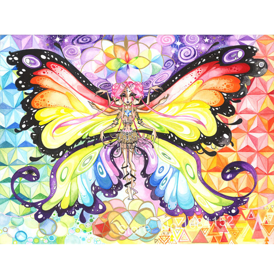 5d diy diamond painting Butterfly Fairy picture wall stickers art ...