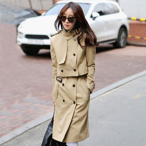 2019 Korean Fashion Elegant Double-breasted Short   Trench   Coat With Long Vest Two Piece Set Double Breasted Solid Color