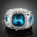 Jenia Brand Elegant Gold Plated flower Pattern Austrian Crystal Enamel Ring For Women XR124