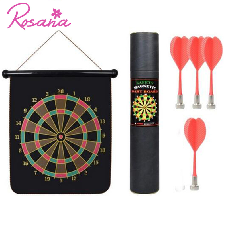 Rosana 12inch Magic Magnetic Dart Board Double Sided Hanging Game 4/Set Dartboard with Carry Box for Outdoor Game Partynt Toys ...