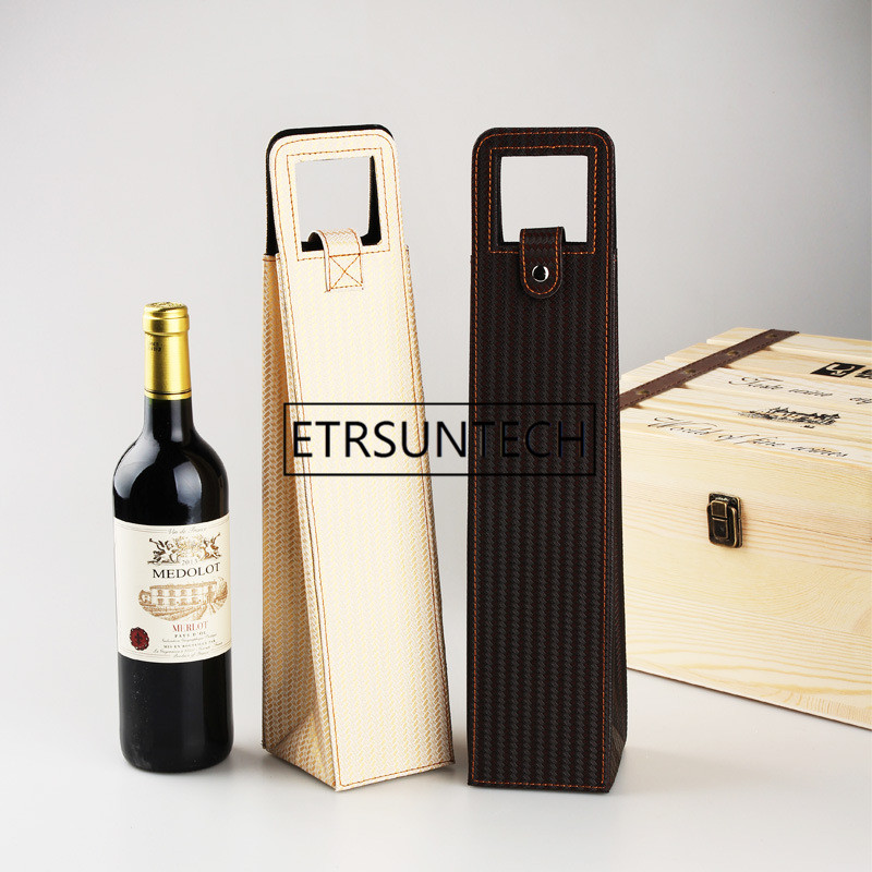 Speciale Sectie 100 Stks/partij Luxe Draagbare Pu Lederen Wijn Zakken Rode Wijn Fles Verpakking Case Gift Opslag Dozen Met Handvat Bar Accessoires