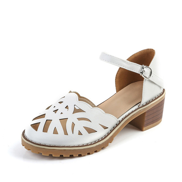 Hollow-Carved Women Sandals 2018 Summer Style Retro Platform White Sandals Comfortable High Hoof Thick Heels Shoes Plus Size 9 4