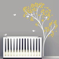 Large Spring Tree Birds Wall Decal Vinyl Wall Stickers Baby Nursery Bedroom Wall Decor Living Room Wall Mural 126 x 194 CM D 68