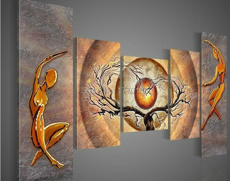 Hand Painted 5 Piece Abstract Heart Tree <font><b>Nude</b></font> Lovers Art <font><b>Red</b></font> Sun Landscape Canvas Oil Painting Wall Decor Living <font><b>Room</b></font> Pictures