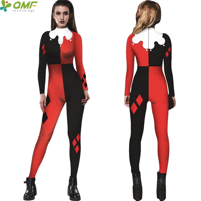 4e9c987b91a0b Harley Quinn One Piece Swimwear Bodycon Full Sleeve Swimsuit Suicide Squad  Halloween Cosplay Jumpsuits Women Wetsuit Back Zipper