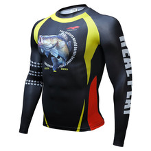 Mens Compression Shirts Bodybuilding Skin Tight Long Sleeves Jerseys Clothings MMA Crossfit Exercise Tee Shirt Homme