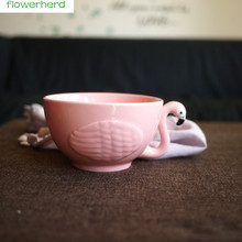 Flamingo style cereal bow l home adult bowl children's tableware small bowl ceramic tableware kitchen soup noodle rice bowl