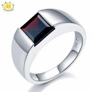 Image 1 - Naturalny czarny granat Unisex pierścionek 925 srebro 1.9 karaty naturalny kamień szlachetny pierścionki Fine Jewelry klasyczny Design na prezent