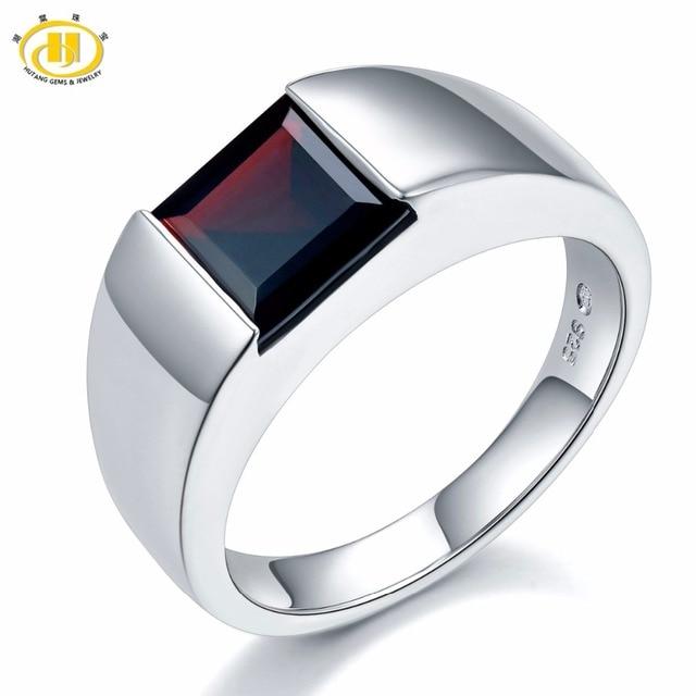 Naturalny czarny granat Unisex pierścionek 925 srebro 1.9 karaty naturalny kamień szlachetny pierścionki Fine Jewelry klasyczny Design na prezent