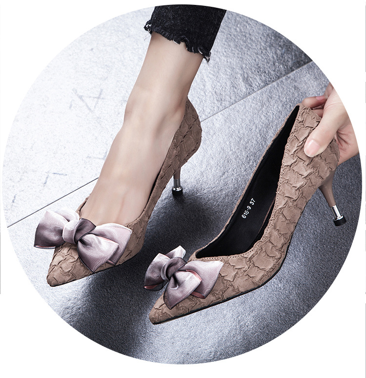 2019 new arrival Women Pumps Pointed Toe Ladies High Heels Bridal brown color good quality