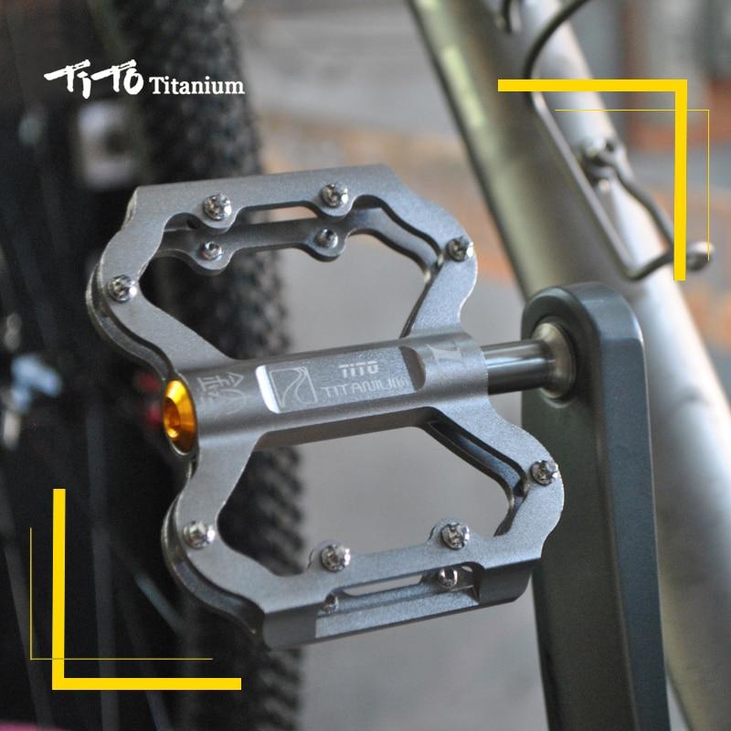 TiTo pédale ultralégère titanium pédale de bicyclette titanium alliage axe pédales de vélo vtt vélo VÉLO En titane 1 paire titanium pédale - 5