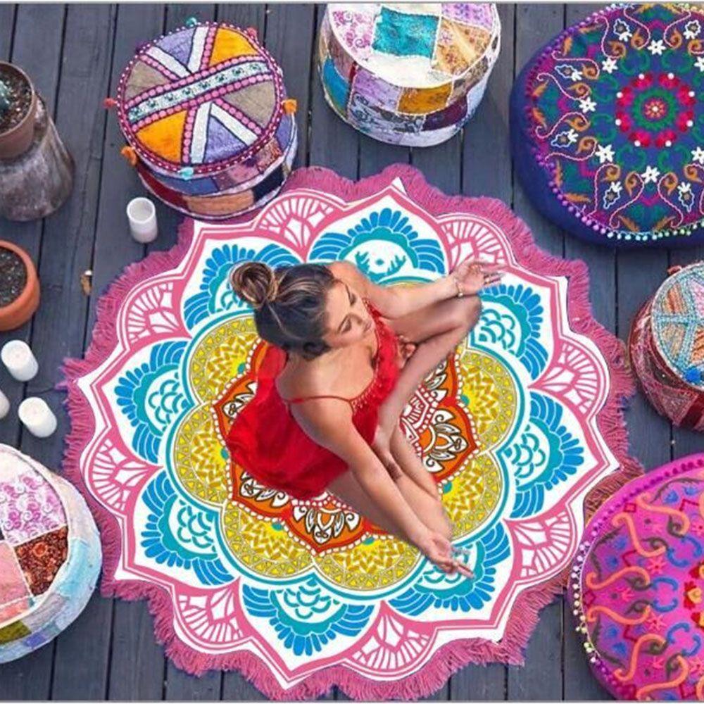 @1  1 ШТ. Богемный Полигональные Печатных Кисточкой Круглый Банное Полотенце Yoga Mat Lotus Красочное Пл ★