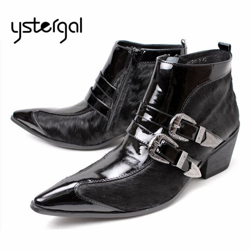 YSTERGAL Black Horsehair Patent Leather Men Ankle Boots Buckle Design Botas Hombre Pointed Toe Side Zipper Military Boots red men wedding dress shoes pointed toe ankle boots genuine leather botas hombre cowboy military boots metal decor men flats