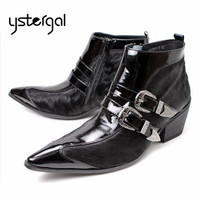 Black Horsehair Genuine Leather Men Ankle Boots Buckle Design Botas Hombre Pointed Toe Side Zipper Military