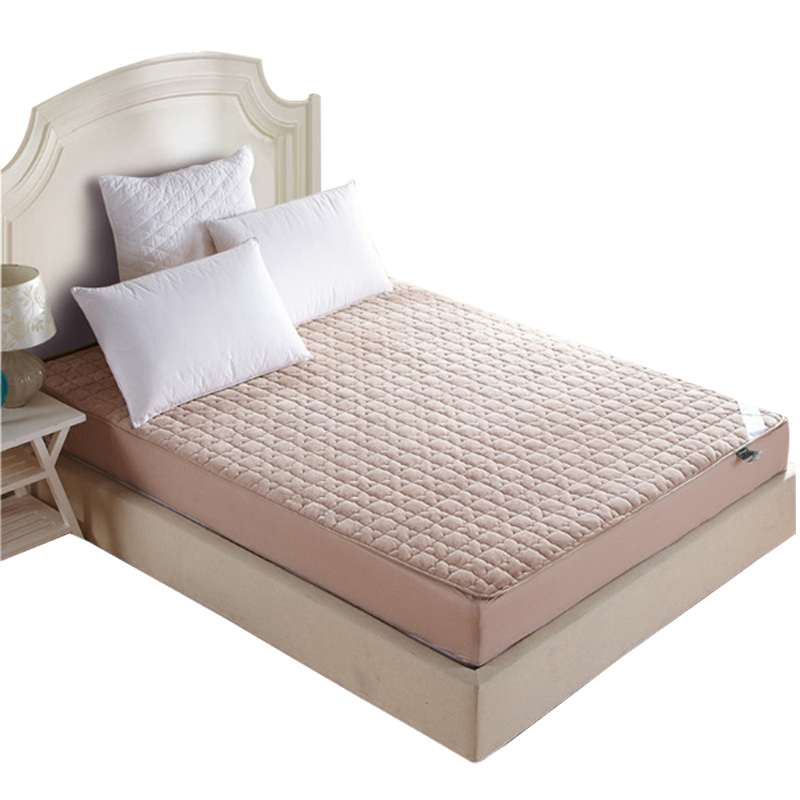 Fleece <font><b>bed</b></font> protection pad twin single full queen king mattress cover/topper <font><b>with</b></font> stuffing/filling/rubber quilted fitted sheet